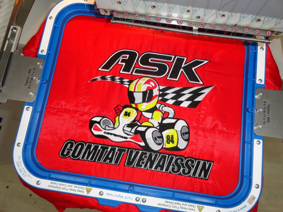 Broderie combinaison pilote de kart